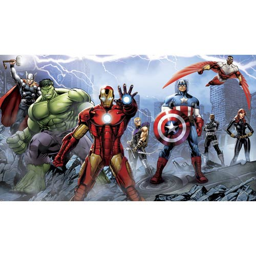 Roommates Decor Xl Wall Murals Multicolor Avengers Assemble Mural 6-ft x 10.5-ft - Ultra-Strippable