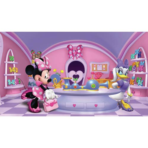 Prepasted Mural Multicolor Minnie Fashionista Chair Rail Prepasted Mural Ultra strippable