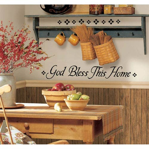 Roommates Decor God Bless This Home Peel and Stick Single Sheet