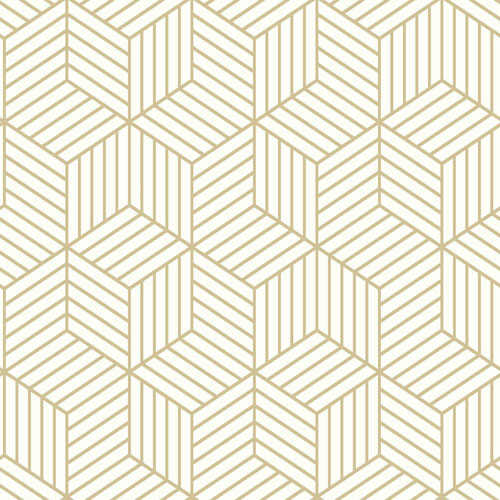 Roommates Decor Stripped Hexagon White And Gold Peel And Stick
