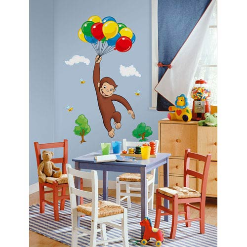 Roommates Decor Curious George Peel and Stick Giant Wall Decal