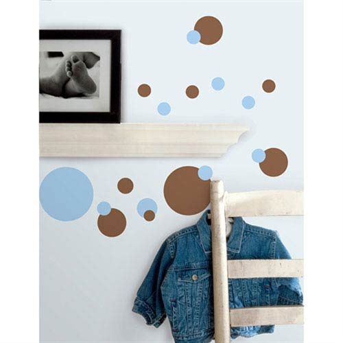 Roommates Decor Just Dots Blue/Brown Peel and Stick Wall Decals