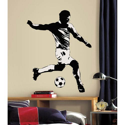 Roommates Decor Soccer Player Peel and Stick Giant Wall Decals
