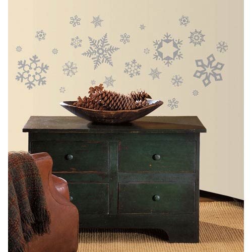 Roommates Decor Glitter Snowflakes Peel and Stick Wall Decals
