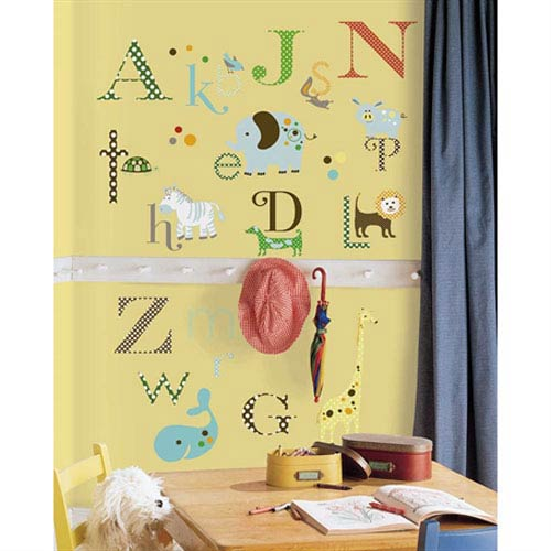Roommates Decor Animal Alphabet Peel and Stick Wall Decals