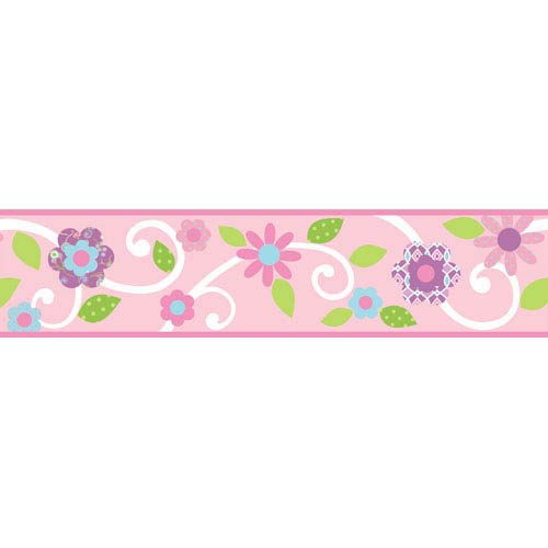 Roommates Decor Scroll Floral Peel and Stick Border - Pink/White