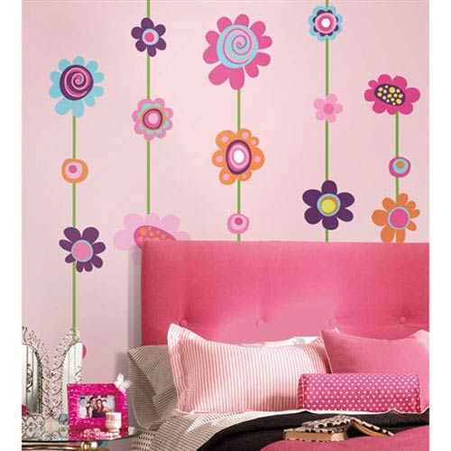 Roommates Decor Flower Stripe Peel and Stick Giant Wall Decal