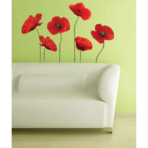 Poppies at Play Peel and Stick Giant Wall Decals