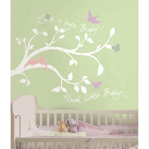 Roommates Decor Rock-a-bye Bird Branch Peel and Stick Giant Wall Decals