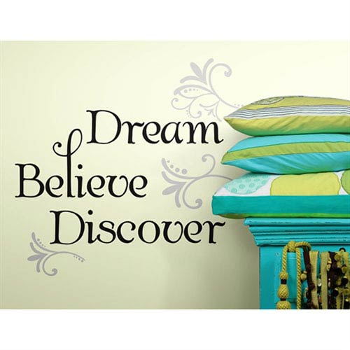 Roommates Decor Dream Believe Discover Peel and Stick Wall Decals