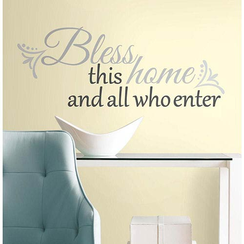 Roommates Decor Deco Grey Bless this Home Peel and Stick Wall Decal