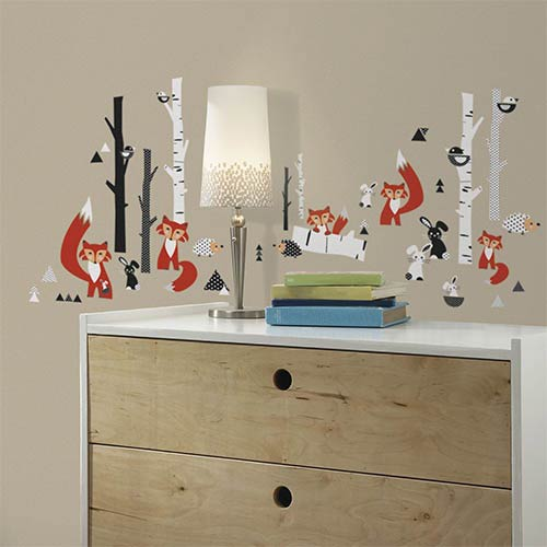 Red Fox Forest Peel and Stick Wall Decal