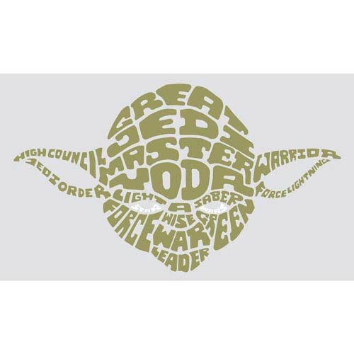 Roommates Decor Popular Characters Multicolor Star Wars Typographic Yoda Peel and Stick Giant Wall Decals