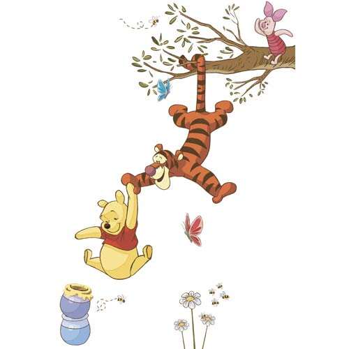 Popular Characters Multicolor Winnie the Pooh Swinging for Honey Peel and Stick Giant Wall Decal
