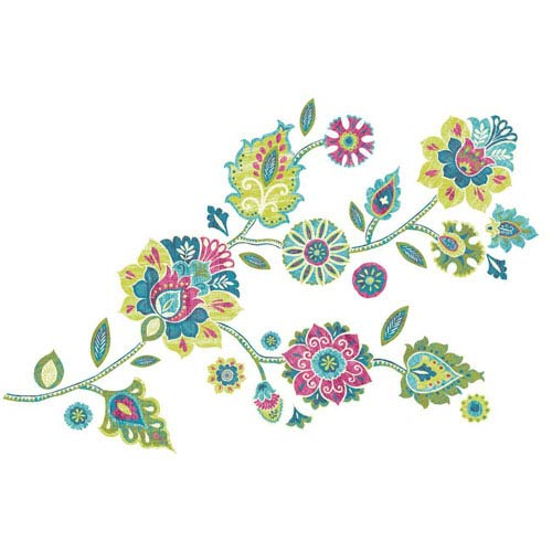 Roommates Decor Deco Multicolor Boho Floral Peel and Stick Giant Wall Decals