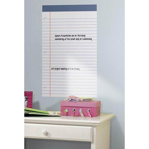 Roommates Decor Deco White Legal Pad Dry Erase Peel and Stick Wall Decal