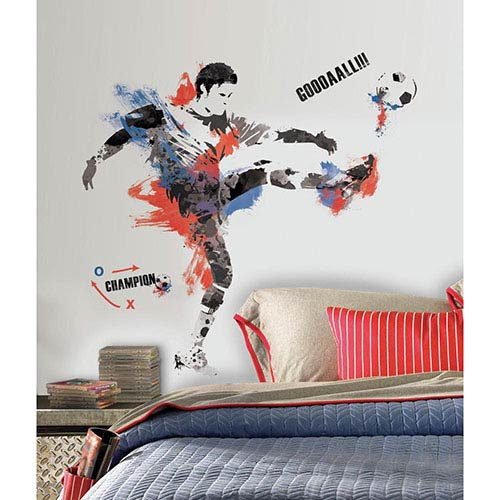 Roommates Decor Multicolor Men's Soccer Champion Peel and Stick Giant Wall Decal