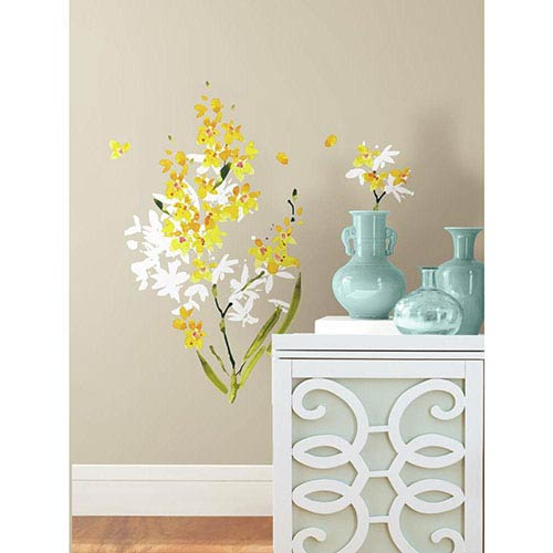 Roommates Decor Deco Yellow Flower Arrangement Peel and Stick Wall Decal