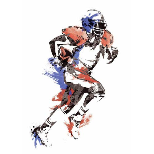 Roommates Decor Multicolor Mens Football Champion Peel and Stick Giant Wall Decals