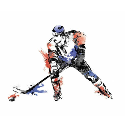 Roommates Decor Multicolor Mens Hockey Champion Peel and Stick Giant Wall Decals