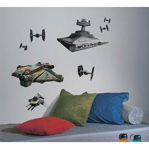 Roommates Decor Popular Characters Black Star Wars Rebel with Imperial Ships Peel and Stick Giant Wall Decal