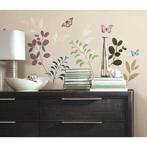 Roommates Decor Deco Multicolor Botanical Butterfly Peel and Stick Wall Decal