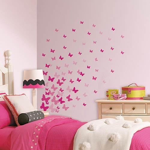 Roommates Decor Pink Flutter Butterflies Peel and Stick Wall Decal