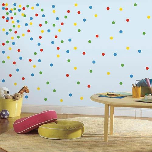 Roommates Decor Multicolor Primary Confetti Dots Peel and Stick Wall Decal
