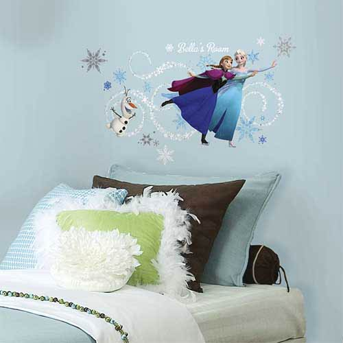 Roommates Decor Popular Characters Blue Frozen Elsa, Anna and Olaf Peel and Stick Giant Wall Decal