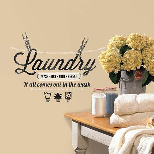 Roommates Decor Deco Black Laundry Quote Peel and Stick Wall Decal