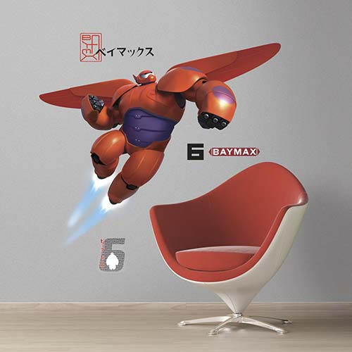 Popular Characters Red Big Hero 6 Baymax Peel and Stick Giant Wall Decal