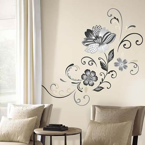 Deco Black and White Flower Scroll Peel and Stick Wall Decals