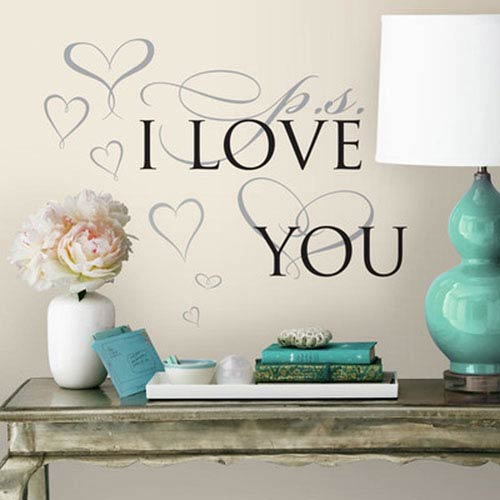 Roommates Decor PS I Love you Peel and Stick Wall Decals