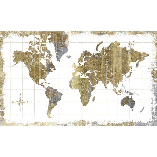 Gold Map Peel and Stick Mural