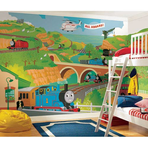 Thomas the Train Full Size Prepasted Mural 9 Ft. x 15 Ft. - Ultra-strippable