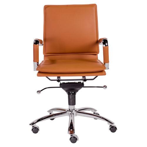 Gunar Cognac Leatherette Pro Low Back Office Chair