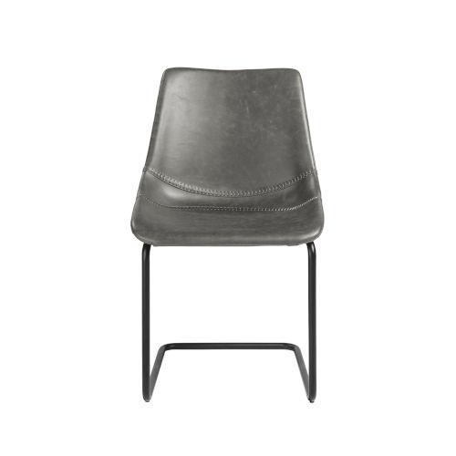 Flynn Dark Gray Leatherette Side Chair, Set of 2