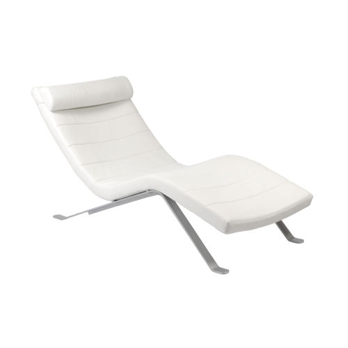 Gilda White and Silver 66-Inch Lounge Chair