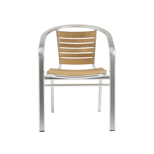 Shirley Teak and Aluminium 22-Inch Arm Chair, Set of 2