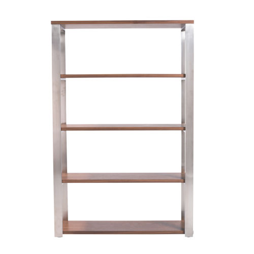 Dillon Walnut and Stainless Steel 39-Inch Shelving Unit