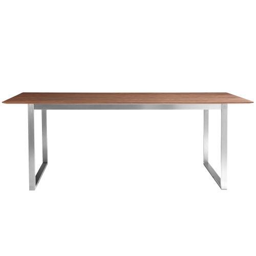 Alvarado Walnut and Stainless Steel 84-Inch Rectangular Dining Table