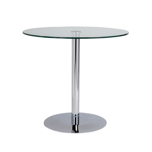 Ava Clear and Chrome 32-Inch Round Dining Table