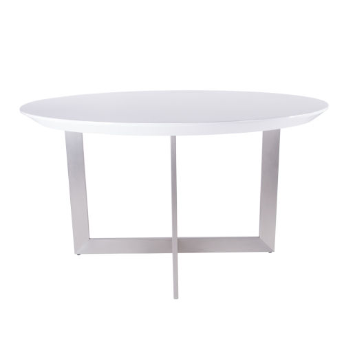 Tosca Gloss White and Stainless Steel 54-Inch Round Dining Table