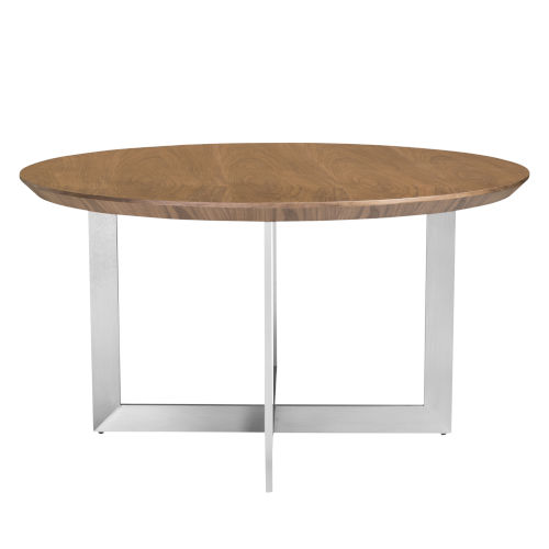 Tosca Walnut and Stainless Steel 54-Inch Round Dining Table