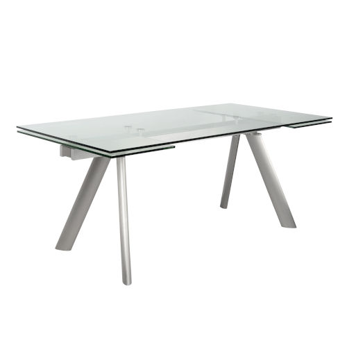 Delano Clear and Stainless Steel 102-Inch Rectangle Extension Table