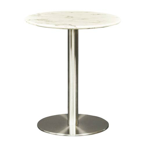 Milo White Marble and Brushed Stainless Steel Side Table
