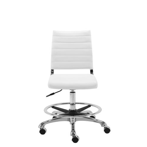 Emerson White Adjustable Height Drafting Stool