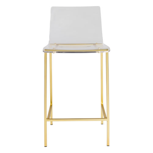 Cooper Clear and Matte Brushed Gold Counter Stool, Set of 2