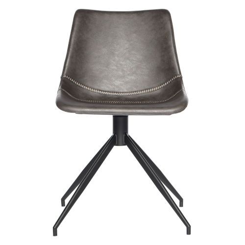Loring Dark Gray Leatherette Swivel Chair, Set of 2