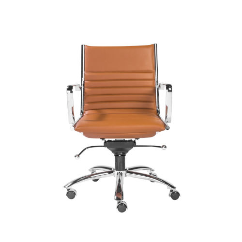 Loring Cognac and Chrome Leatherette Low Back Office Chair